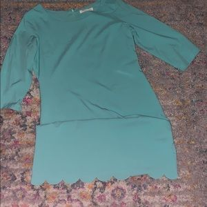 Turquoise scallop dress